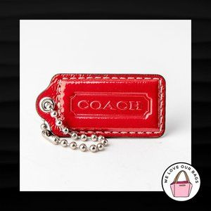 2.5″ Large COACH RED PATENT LEATHER KEY FOB BAG
